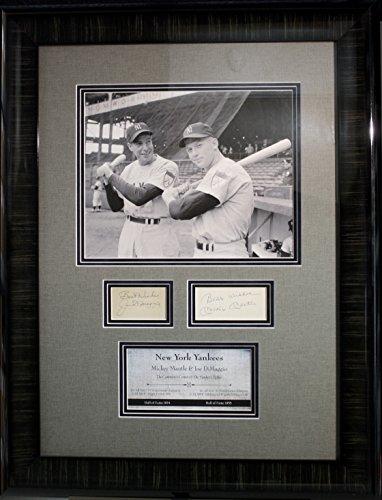 (RARE-MICKEY MANTLE/ JOE DiMAGGIO (Yankees) framed cut signature display-JSA)