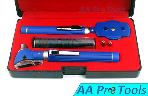 AA PRO LED BRIGHT LIGHT FIBER OPTIC OTOSCOPE SET BLUE + DISPOSABLE SPECULAS+ PROTECTIVE CASE !DOUBLE HANDLE + 2 FREE EXTRA REPLACEMENT BULBS A+ QUALITY
