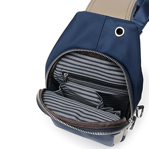 T Leisure Pack Men Shoulder Qidi T One Chest 2 Plug 1 color Backpack Headphone Polyester aPqtgRw