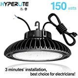 Hyperlite 150w LED UFO high Bay Light LED high Bay UFO Lights, UL/DLC 4.2 Premium/FCC Approved 5' Wires with Plug Dimmable IP65, 5 Years Warranty, 5000K