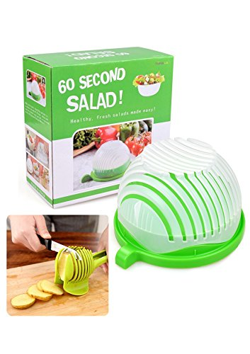 Salad Cutter Bowl with a Fruit Vegetable tong, Salad Maker Bowl in 60 Seconds Fast and Effective,Great Salad Chopper & Slicer for Parties,BBQ,Grilling and (Slit Fit Cam)