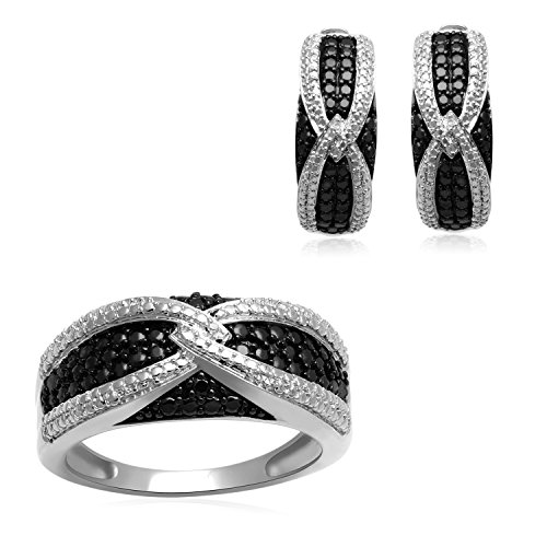 (Jewelili Sterling Silver 1/20Cttw Black and White Diamond Band Ring and Earrings Boxed Set, Size 7)