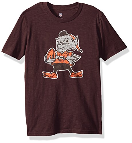 OuterStuff NFL Youth Boys Vintage Logo Short Sleeve Tee-Brown Suede-S(8), Cleveland Browns