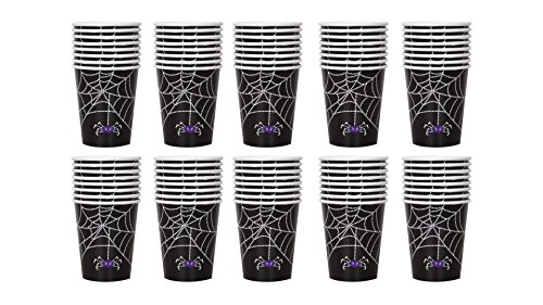 9 oz Paper Spider Web Halloween Cups, 80 Pieces