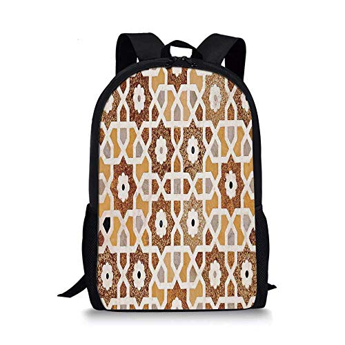 Antique Stylish School Bag,Detail of Inlay and Geometric Carvings Asian Taj Mahal Tomb Architecture Decorative for Boys,11''L x 5''W x 17''H