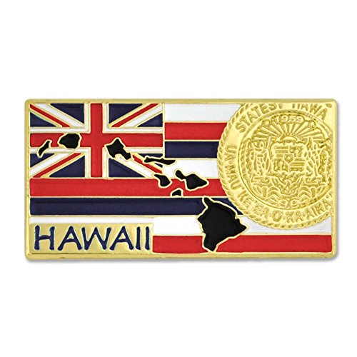PinMart State Shape of Hawaii and Hawaii Flag Lapel Pin 1-1/4