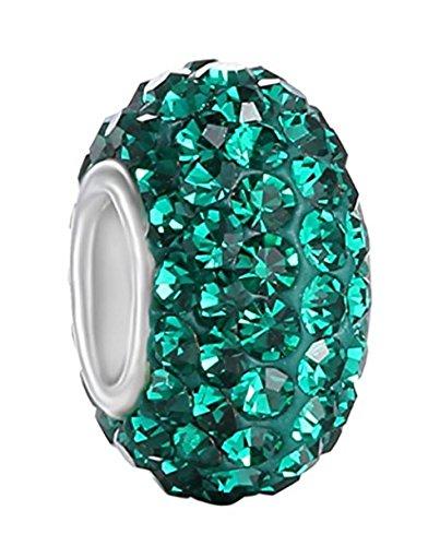 925 Sterling Silver May Birthstone Charm Bead Swarovski Crystal Elements fit All Charm Bracelets Women Girls Gifts EC684-5