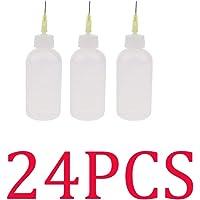 Perfk (24 Pcs Pack) 50ml Precision Tip Applicator Bottle Needle Tip Glue Bottle Dropper Dispenser Squeeze Bottle for DIY…