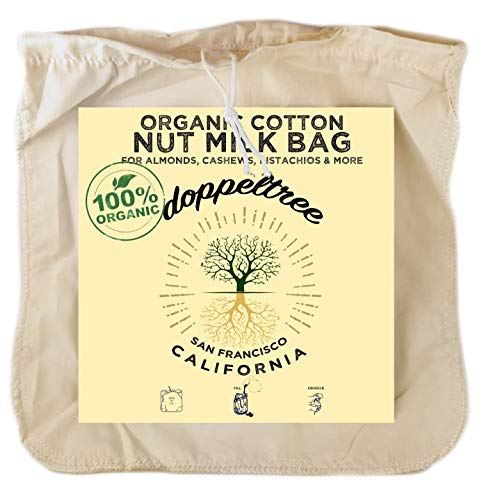 Doppeltree Premium Organic Cotton Reusable Nut Milk Bag - Extra Large 12 in x 12 in Fine Mesh Food Grade Almond, Soy, & Yogurt Strainer Cheesecloth with EasyOpen Drawstring - Designed in San Francisco