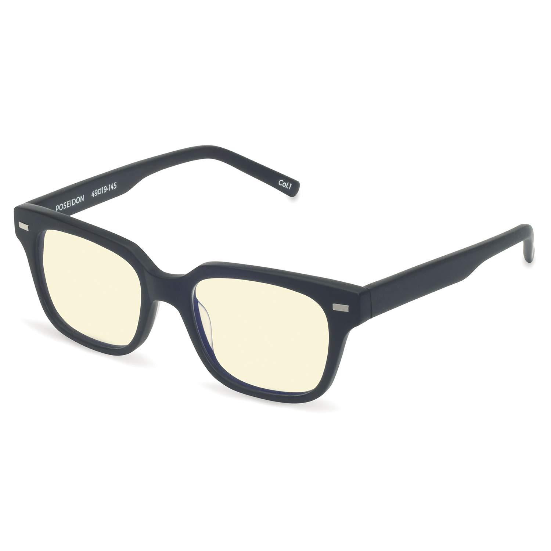 Boca Blu Blue Light Block Reading Glasses - Poseidon Anti-Eyestrain Computer Glasses, Gaming Unisex Eyewear - Acetate Frames, CR-39 Lenses - Magnification Strength +1.25 – Matte Black
