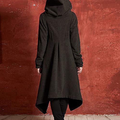 Capuche Noir Asymétrique Blouson Automne Coton Sweatshirt Shirt Mode Casual Hiver Solide Gilet Blouse Femme Tunique Long Tops Loose Pull À Hoodie Cardigan Manteau Bwzd46qAB