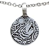 Full moon Howling wolf Tribal spirit pewter pendant necklace (Stainless Steel Chain Necklace)