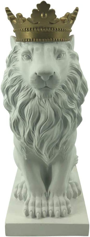 """Comfy Hour 15"""" Resin Stone Lion Figurine King of Forest Statue Sculpture Home Decoration, White & Gold"""