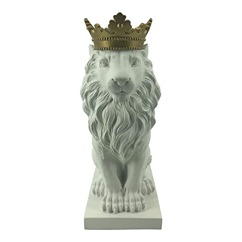 Comfy Hour 15 Resin Stone Lion Figurine King of Forest Statue Sculpture Home Decoration, White Gold