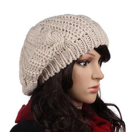 Crochet mujeres boina del invierno gorro de lana de punto flojo gorra de  esquí de color beige  Amazon.es  Joyería c4ac2cb0143