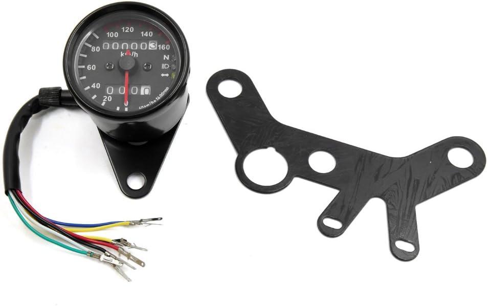 uxcell Universal Black Motorcycle Odometer Speedometer Gauge w Bracket for Harley Davidson