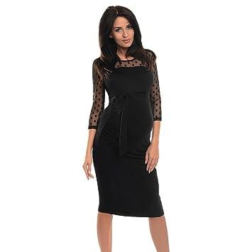 Vestido informal de maternidad con encaje a puntos para embarazadas. azul negro l