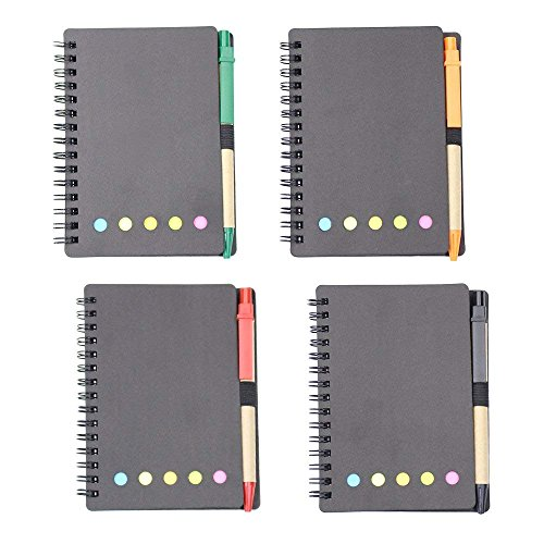 - M-Aimee 4 Sets Spiral Notebook Kraft Paper Cover Steno Pocket Notepad with Pen in Holder, Sticky Notes and Page Marker Index Tabs Flags, 3.3 x 5.3 inches (Black)