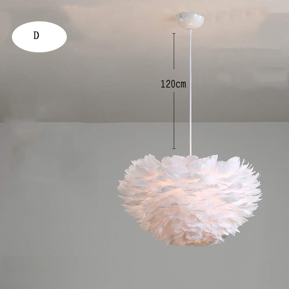 HXSON Nordic Children's Room Feather Lamp Chandelier, 50cm Simple Modern Creative Personality Lamps, Warm Romantic Bedroom Lamp-Dwarm
