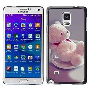 TopCaseStore / la caja del caucho duro de la cubierta de protección de la piel - Cute Bear Heart - Samsung Galaxy Note 4 SM-N910