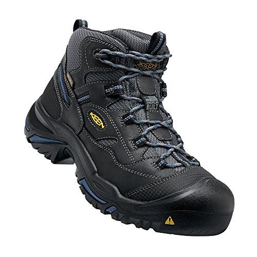 Keen Utility Mens Braddock Mid Waterproof Soft Toe Work Boot  Raven Estate Blue  13 D Us