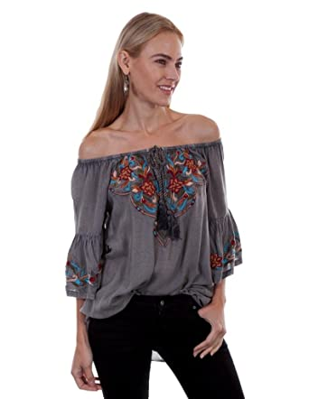 48551715a6a Scully Womens Docia Embroidered Top at Amazon Women s Clothing store