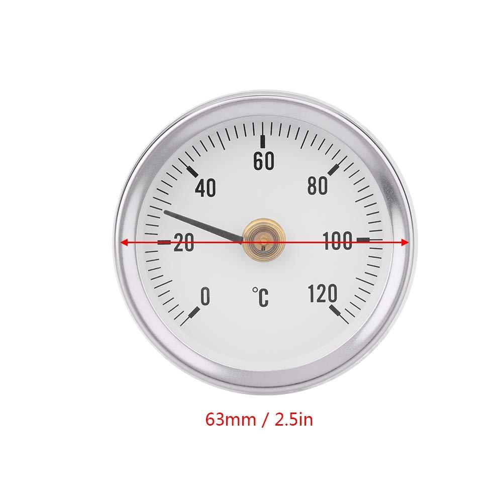 thermom/ètre de Tuyau de Printemps 63 mm 120 /° /énergie p/étrole Bateau IP55 Surfaces de Plantes Zerone Thermom/ètre /à Quartz temp/érature bim/étallique /étanche pour tuyaux