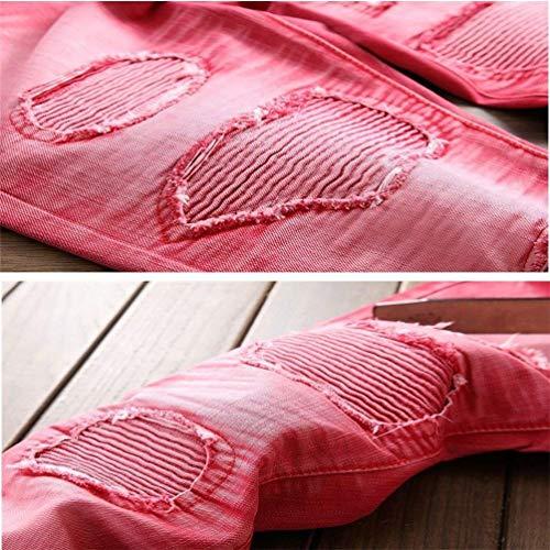6 Casual Slim Battercake 10 Colori rot Dritto R Cher Classic Distrutto Jeans Buche Comodo W42 Stonewash Biker Uomo Coscia Denim Strappato Marea Fit W29 Pantaloni Pr6Pfgq