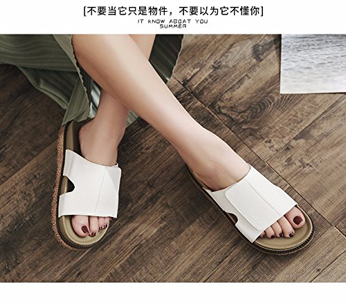 seaside fashion summer White beach muffins summer slippers women's shoes XIAOGEGE cool and Slippers qxB48fF