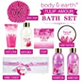Home Spa Gift Basket: Body & Earth Tulip Scent Bath Set Luxurious Bath Set Includes Bubble Bath, Shower Gel, Milk Body Butter & Lotion, Hand Soap and More, Perfect Bath and Body Gift Set for Women