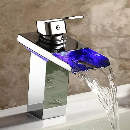 Yannlii LED Chrome Waterfall Bathroom Sink Faucet Water Flow Color Changing Led Faucet Lighting Vessel Faucet Centerset Modern Single Handle Single Hole Faucets Widespread Sprayer Lavatory Faucets Unique Designer Plumbing Fixtures Tub Shower Mixer Taps Supply Lines (Sink Lighting)
