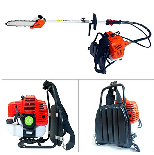 26 Cc Gasoline Engine - CHIKURA Backpack 43cc Long Reach Pole gasoline Chain Saw Brush Tree Cutter Pruner