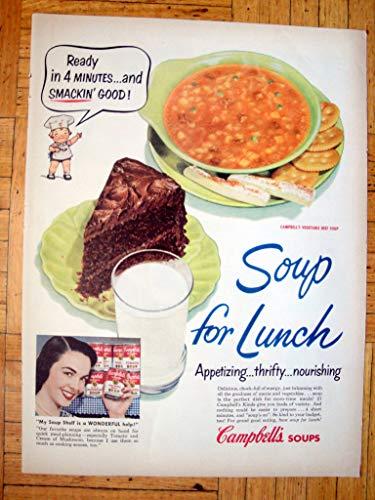 Campbell Art Deco Print - 1950 Campbell's Vegetable Soup + Chocolate Cake-Original 13.5 * 10.5 Magazine Ad