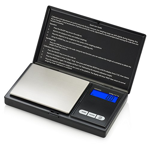 Smart Weigh SWS600 Elite Pocket Sized Digital Gram Scale,Jewelry Scale,Gram Scale,Nutrition Kitchen Scale, School Scale with Slim Design 600 x 0.1g, Black