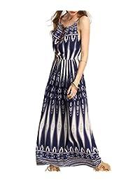 Ayliss Women's Spaghetti Strap Stretch Tunic Waist Bohemian Maxi Dress Beach Dress
