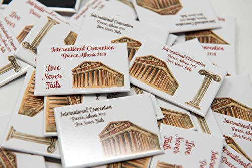 Gifts Convention - ATHENS GREECE - 50 Lapel Buttons Pins - Love Never Fails for the International Convention of Jehovah's Witnesses, Jw gifts, Jw shop, souvenirs, assembly gifts