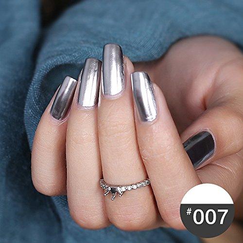 PLENTOP Mirror Nail Polish Plating Silver Paste Metal Color Stainless (Liquid Nail Hardener)
