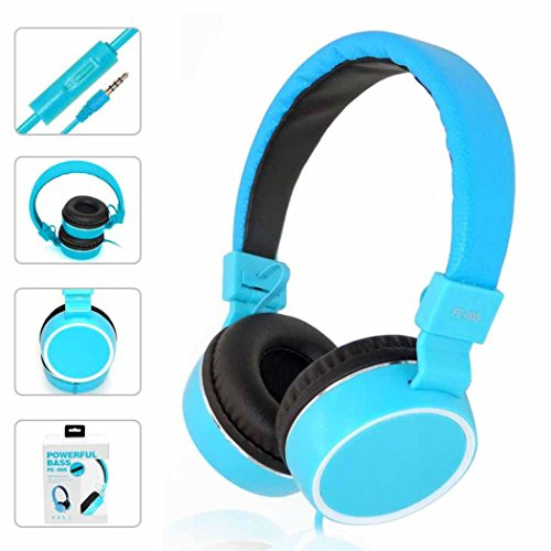 Earbud Light Blue Cord - Headphones, GOTD Stereo Sports Over The Ear Mini Earphones Earbuds Headset for Cellphones Laptop Tablet TV MP3/4 Headphones, Light Blue