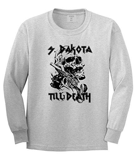 Heavy Metal South Dakota Till Death Skull Rose Concert Long Sleeve T-Shirt XXX-Large - South Metal Grey