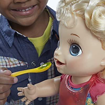 Baby Alive Happy Hungry Baby Blond Curly Hair Doll, Makes 50+ Sounds & Phrases, Eats & Poops, Drinks & Wets, for Kids Age 3 & Up: Toys & Games