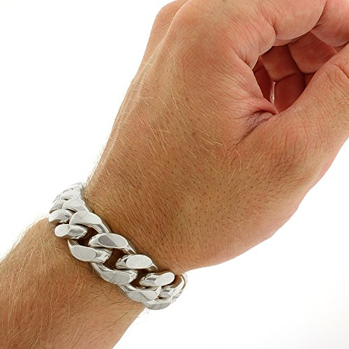 Sterling Silver 14.5mm Miami Cuban Curb Link Thick Solid 925 Rhodium Bracelet Chain 9'' by In Style Designz (Image #1)