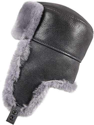 Zavelio Men's Shearling Sheepskin Trapper Russian Hat Small Antrasit
