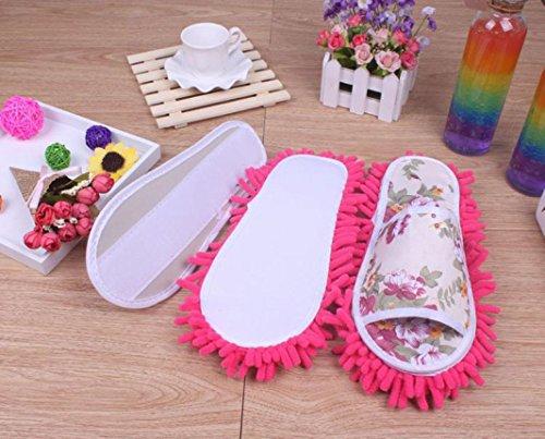Sagton Women Dust Mop Pantofole Calzini Microfibra Casa Pantofole Camera Da Letto Scarpe Hot Pink