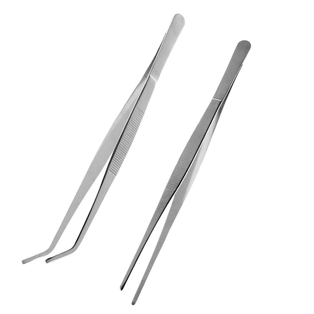 ROSENICE 2 Stück Pinzette Edelstahl Gerade und Gebogene Spitze Präzisionspinzette (Silber)