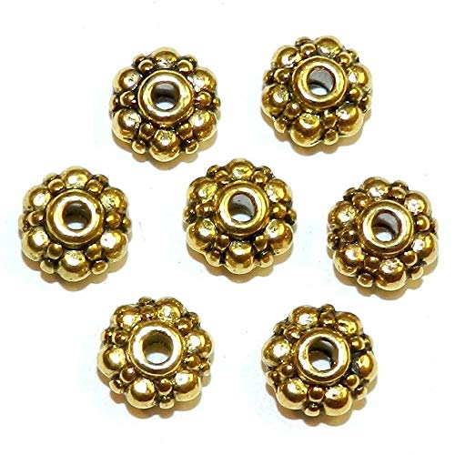 Dots Rondelle Beads - Antiqued Gold 8mm Flat Scalloped Dot Rondelle Metal Spacer Beads 24pc #ID-4402