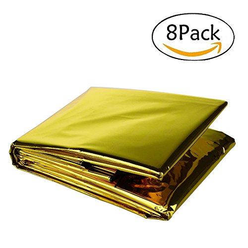 "Somine Emergency Blanket (8-Pack),Size 83""X63"" Designed with up to 90% Heat Retention Waterproof Thermal Blankets for Backpacking, First Aid Kit, Outdoor Exercise (Golden)"