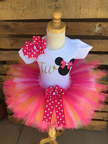 Minnie Mouse Birthday Tutu Outfit Set Dress Shirt Second Birthday Pink and Gold -