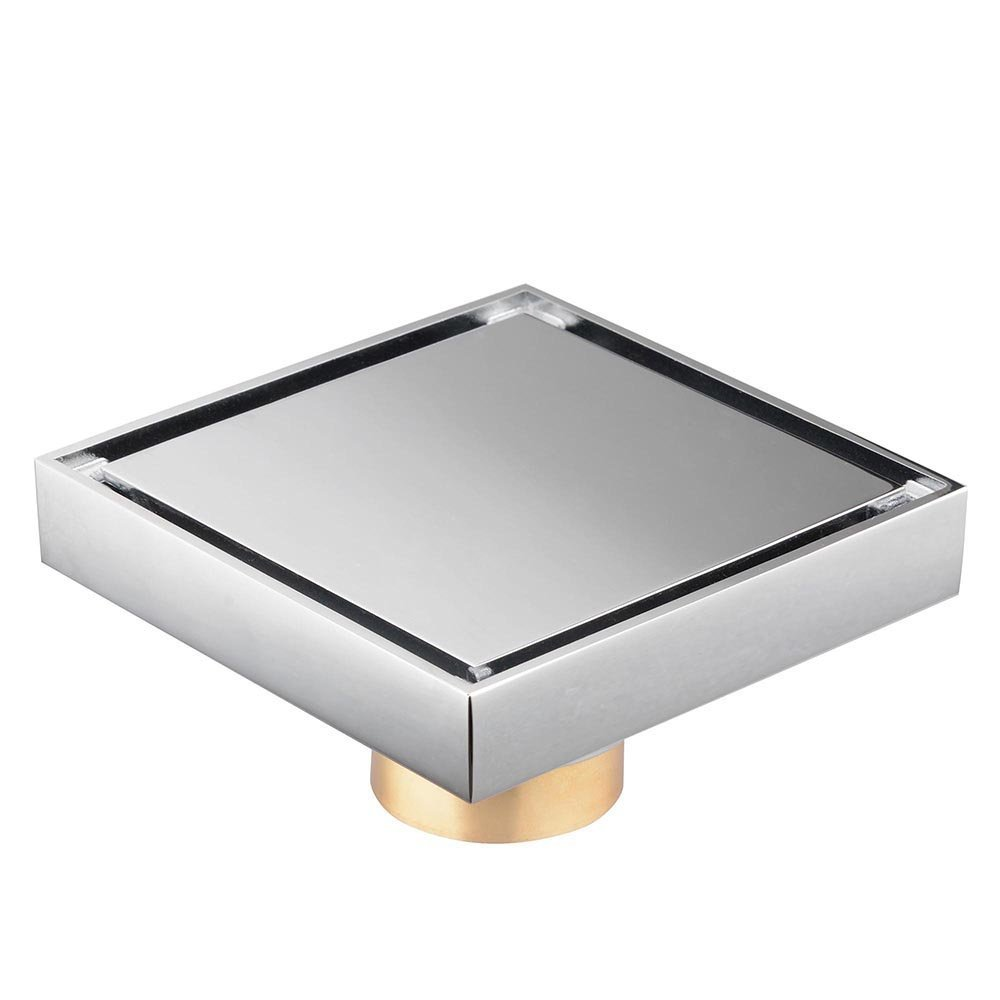 CHIMAERA Square Shower Floor Drain Chrome Commercial Home Improvement Bathroom Copper Decor Accessory by CHIMAERA