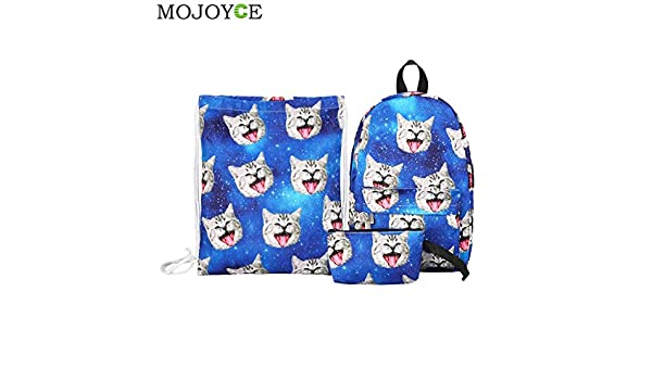 Amazon.com: 3pcs/Set Canvas Backpack 3D Cat Print Drawstring Bag Women Backpacks Girls Travel Daypack Student Schoolbags Mochila: Kitchen & Dining