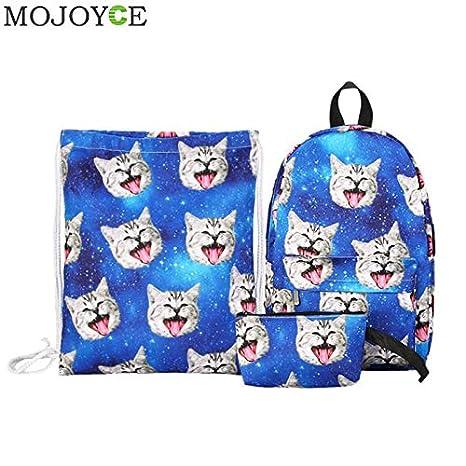 Amazon.com: 3pcs/Set Canvas Backpack 3D Cat Print Drawstring Bag ...